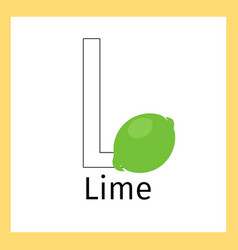 lime and letter l coloring page vector image vector image