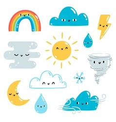 Weather set vector image