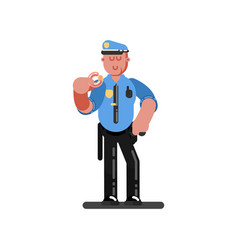 police officer eating donut vector image vector image