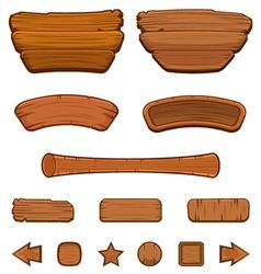 Set of cartoon wooden buttons vector image