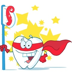 Smiling Superhero Tooth With Toothbrush vector image vector image