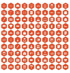 100 credit icons hexagon orange vector
