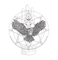 abstract occult symbol vintage style logo vector image