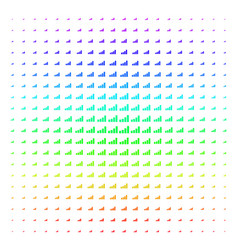 bar chart icon halftone spectrum effect vector image