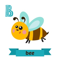 Bee B letter Cute children animal alphabet in vector