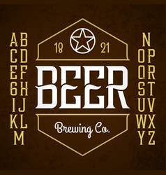 Beer label style font with sample design ideal vector