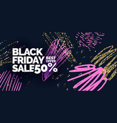 black friday sale banner with gold glitter vector image
