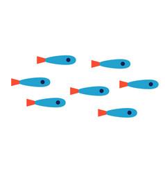 Blue fish shoal flat on white vector