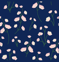 Blushy blooms floral print seamless pattern vector