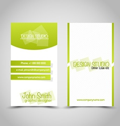Business card set template Green and white color vector