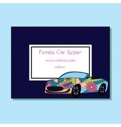 Business crad colorful female car repair vector