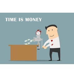 Businessman is making money from a clock vector image