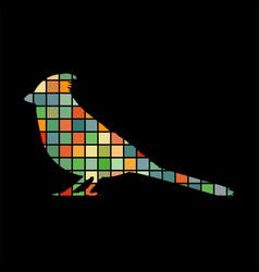 Cardinal bird mosaic color silhouette animal vector