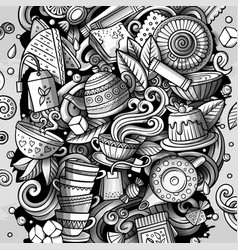 cartoon doodles tea toned vector image