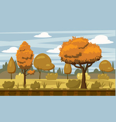 cartoon style autumn landscape background with vector image