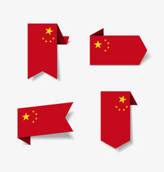 chinese flag stickers and labels vector image