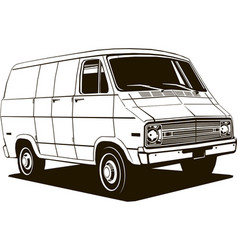 classic commercial van 1970 s style vector image