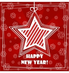 Collection greeting card Happy New Year star vector