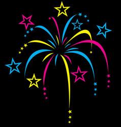 colourful stylized fireworks vector image