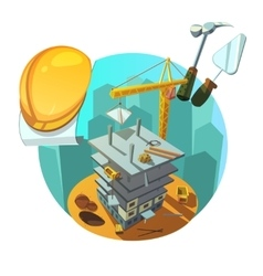 Construction retro cartoon vector image