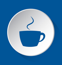 cup with smoke - simple blue icon on white button vector image
