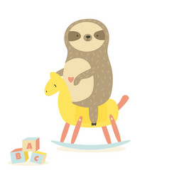 Cute baby sloth swinging rocking horse vector