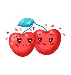 cute couple cherries in love valentine day vector image