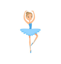 cute dancing smiling ballerina in blue textile vector image