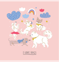 Cute dog breeds clouds rainbows vector