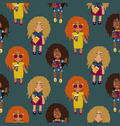 cute fashion girls seamless pattern vector image