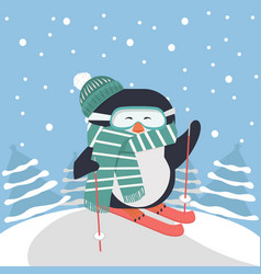 Cute penguin skiing with tree background vector
