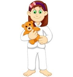 Cute sleepy girl cartoon holding teddy bear vector