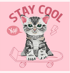 Cute small cat kitten which sit on a skateboard vector