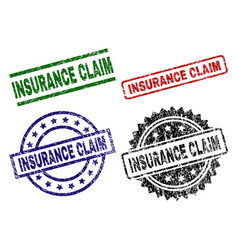 damaged textured insurance claim seal stamps vector image