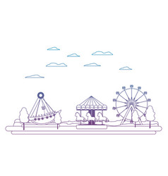 Degraded line carnival with funny mechanical ride vector