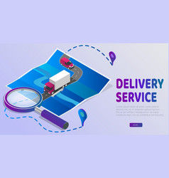 Delivery website banner delivery service app with vector