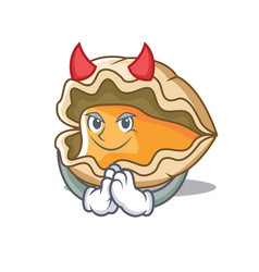 Devil oyster mascot cartoon style vector