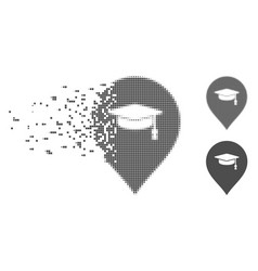 Disappearing pixel halftone education marker icon vector