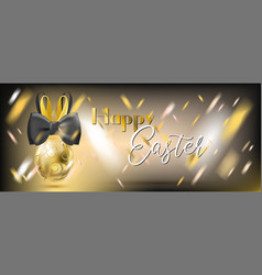 Easter gala golden egg with bunny bow vector