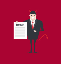 evil businessman offering contract vector image