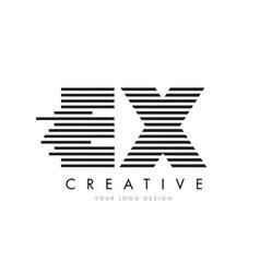 Ex e x zebra letter logo design with black and vector