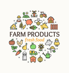 farm products round design template thin line icon vector image