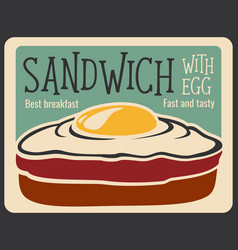Fast food sandwich retro poster vector