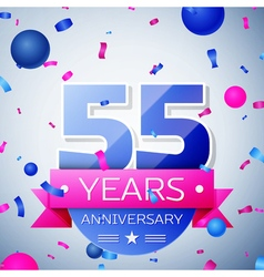 Fifty five years anniversary celebration on grey vector image
