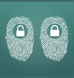 fingerprint with lock unlock cyber security and vector image