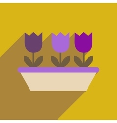 Flat web icon with long shadow tulips vector