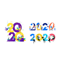 for new year 2020 people work around numbers vector image