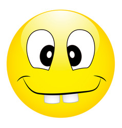 Funny silly yellow smiley with big teeth on a vector