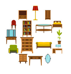 furniture icons set flat style vector image
