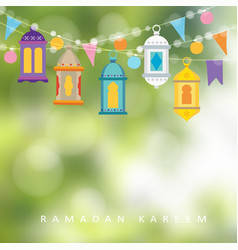 garlands with hanging colorful lanterns flags and vector image